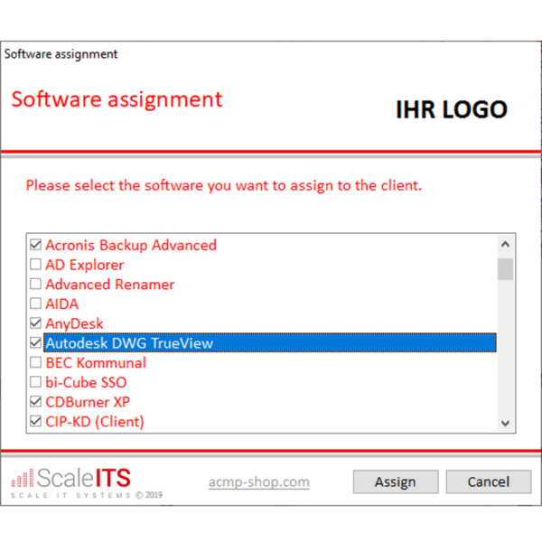ACMP ClientCommand Software Zuweisung
